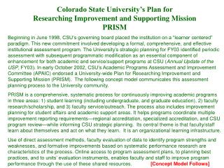 Colorado State University's Plan for  Researching Improvement and Supporting Mission PRISM