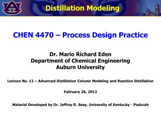CHEN 4470 � Process Design Practice