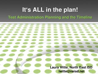 It�s ALL in the plan!