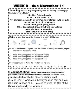 "Spelling :  Choose 1 spelling activity from the spelling activities page in student ""Hero Binder"""