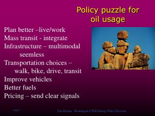 Policy puzzle for oil usage