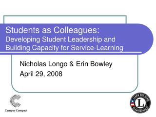 Students as Colleagues: Developing Student Leadership and Building Capacity for Service-Learning