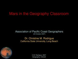 Mars in the Geography Classroom