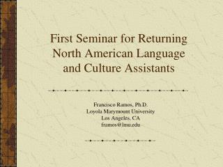 First Seminar for Returning North American Language and Culture Assistants
