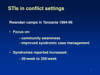STIs in conflict settings