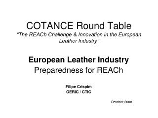 "COTANCE Round Table ""The REACh Challenge & Innovation in the European Leather Industry"""