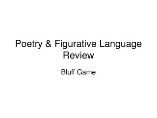 Poetry & Figurative Language Review
