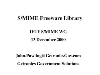 S/MIME Freeware Library