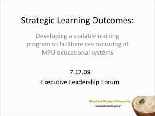 Strategic Learning Outcomes: