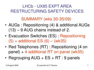 LHCb - UX85 EXPT AREA  RESTRUCTURING SAFETY DEVICES