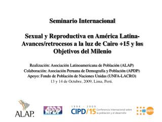 Seminario Internacional  Sexual y Reproductiva en Am rica Latina- Avances