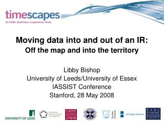 Moving data into and out of an IR: Off the map and into the territory Libby Bishop