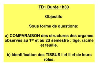 TD1 Durée 1h30 Objectifs Sous forme de questions: