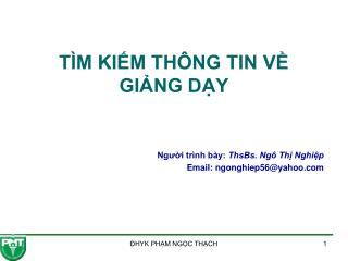 T M KIM TH NG TIN V GING DY