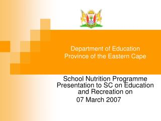 Department of Education Province of the Eastern Cape