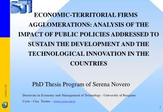 PhD Thesis Program of Serena Novero