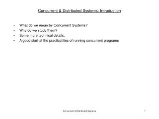 Concurrent  Distributed Systems: Introduction