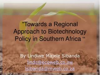"""Towards a Regional Approach to Biotechnology Policy in Southern Africa  """