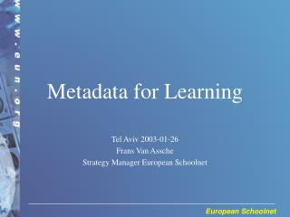 Metadata for Learning