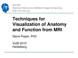 Techniques for Visualization of Anatomy and Function from MRI