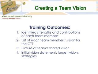 Creating a Team Vision