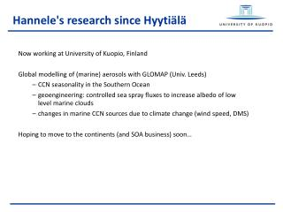 Hannele's research since Hyytiälä