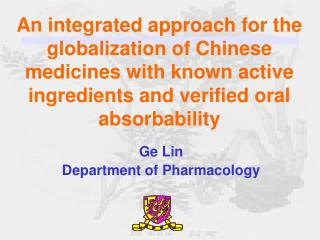 Ge Lin Department of Pharmacology