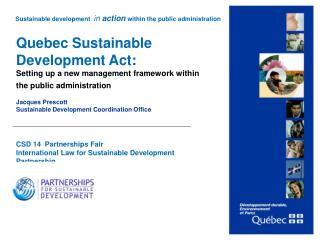 Quebec Sustainable Development Act :