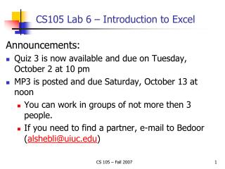 CS105 Lab 6 – Introduction to Excel
