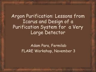 Adam Para, Fermilab FLARE Workshop, November 3
