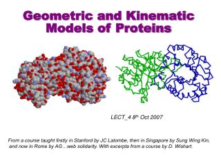 Geometric and Kinematic  Models of Proteins