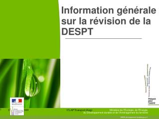 Information générale sur la révision de la DESPT