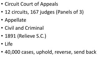 Circuit Court of Appeals 12 circuits, 167 judges (Panels of 3) Appellate Civil and Criminal