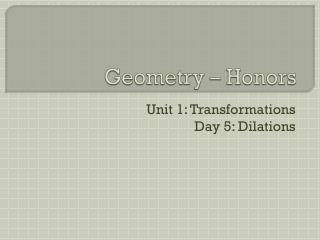 Geometry � Honors