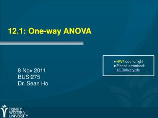 12.1: One-way ANOVA
