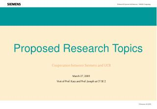 Proposed Research Topics