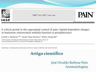 Artigo científico José Osvaldo Barbosa Neto Anestesiologista