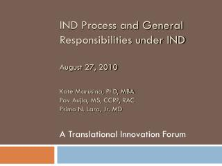A Translational Innovation Forum
