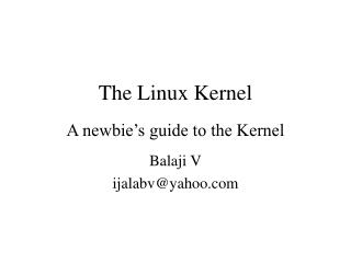 T he Linux Kernel A newbie's guide to the Kernel