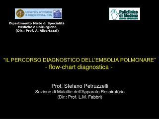 """""""IL PERCORSO DIAGNOSTICO DELL'EMBOLIA POLMONARE"""" - flow-chart diagnostica -"""