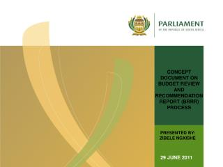 CONCEPT DOCUMENT ON BUDGET REVIEW AND RECOMMENDATION REPORT (BRRR) PROCESS