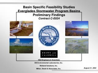 Basin Specific Feasibility Studies Everglades Stormwater Program Basins Preliminary Findings