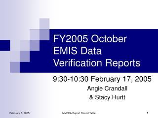 FY2005 October EMIS Data Verification Reports