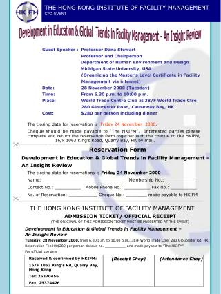 THE HONG KONG INSTITUTE OF FACILITY MANAGEMENT CPD EVENT