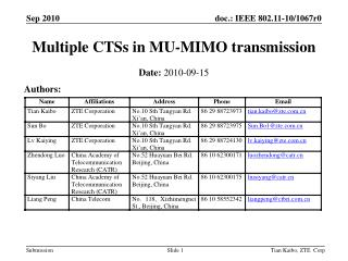 Multiple CTSs in MU-MIMO transmission