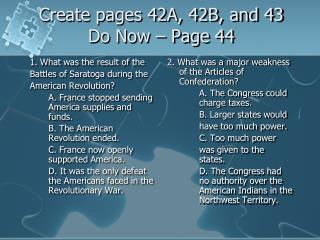 Create pages 42A, 42B, and 43 Do Now – Page 44