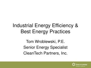 Industrial Energy Efficiency & Best Energy Practices