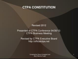 CTPA CONSTITUTION
