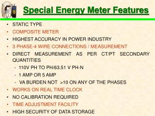 Special Energy Meter Features