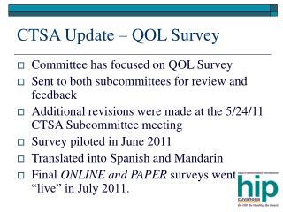 CTSA Update – QOL Survey